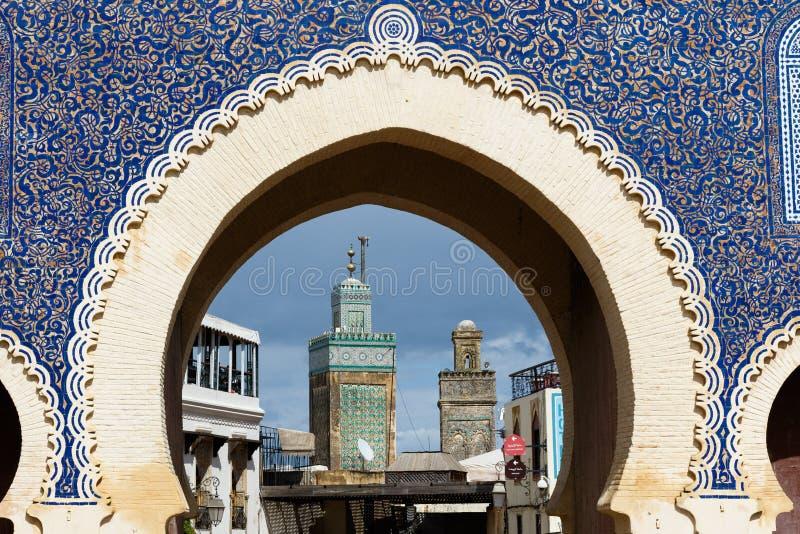 Bab Bou Jeloud-poort of Blauwe Poort in medina van Fes Gr Bali, Marokko royalty-vrije stock foto's