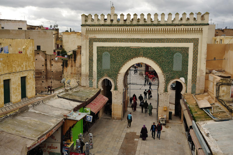 Bab Boujeloud Gate in Fes, Morocco royalty free stock image