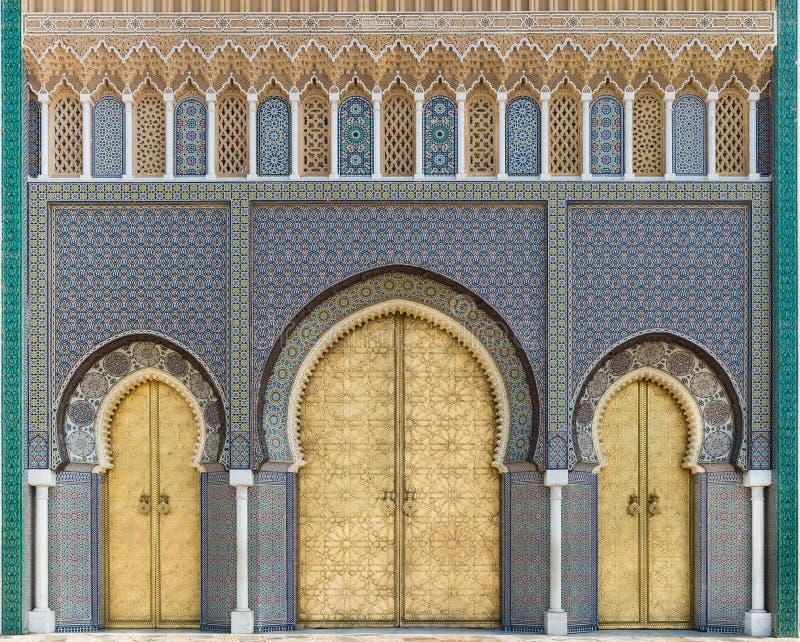Bab Dar Lmakhzen o Royal Palace Gate in Fes, Marocco immagine stock libera da diritti
