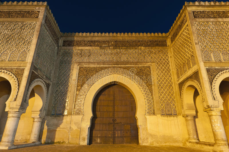Bab Jama Tür en-Nouar bei Meknes, Marokko stockfoto