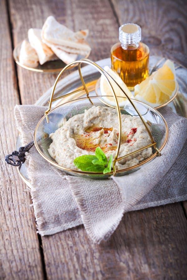 Baba ghanoush, eggplant dip, mediterranean food. royalty free stock photo