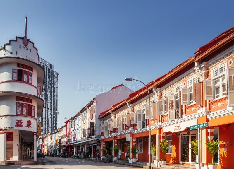 Baba Nyonya för gammal koloniinvånare traditionellt hus i kineskvarteret, Singapo royaltyfria bilder