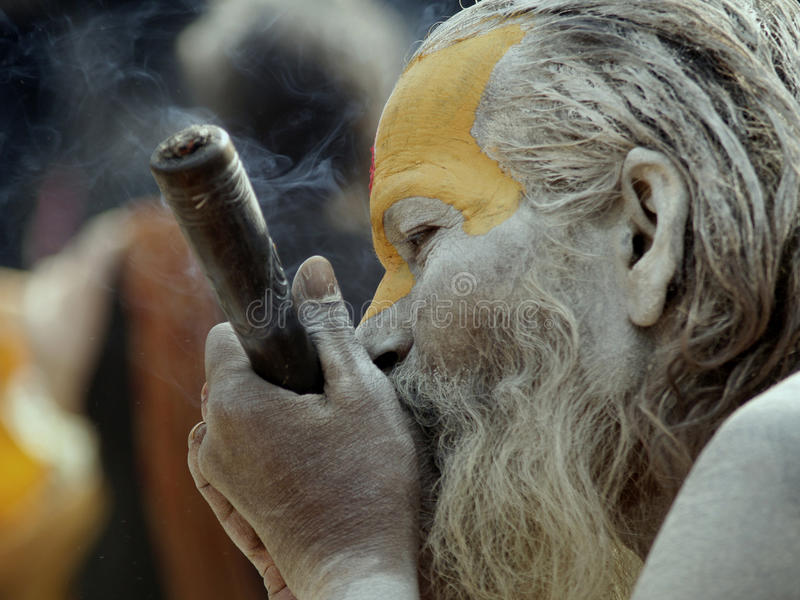 Baba in Shivaratri Festival in Nepal. Mahashivaratri is one of the biggest festivals of Hindus. People from all over the world throng to Pashupatinath Temple in royalty free stock photos