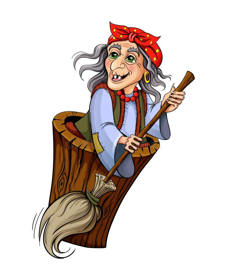 Baba Yaga. Witch from Russian folk tales. Isolated on white background vector illustration