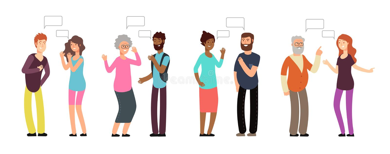 Babbelende personen De mensen groeperen zich in gesprek Mannen en vrouwen die met het denken van bel bespreken Vectormededeling royalty-vrije illustratie