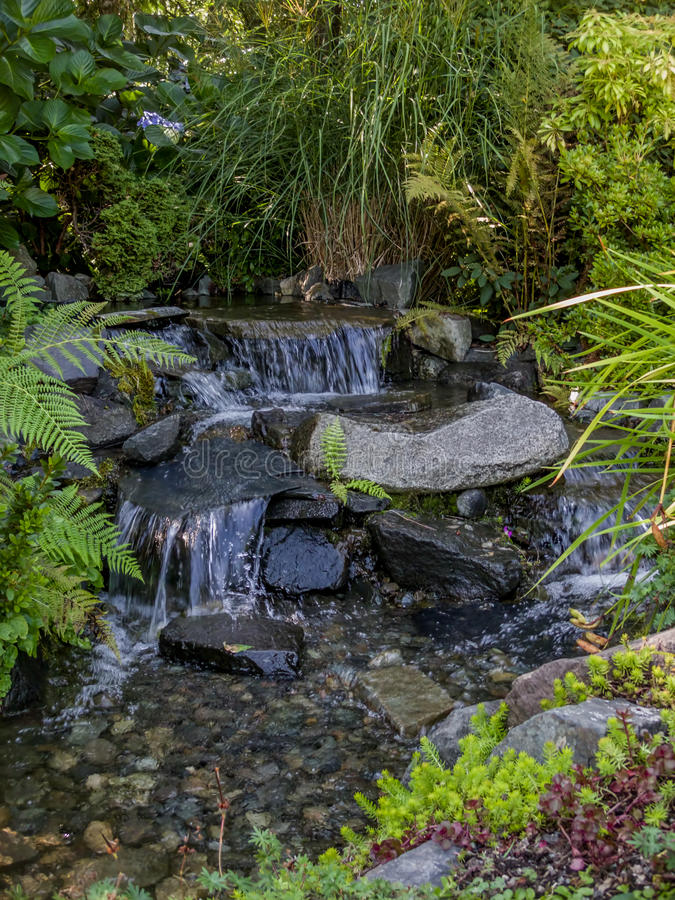 Babbling Brook Flows Over Stone. S into a rocky riverbed royalty free stock image