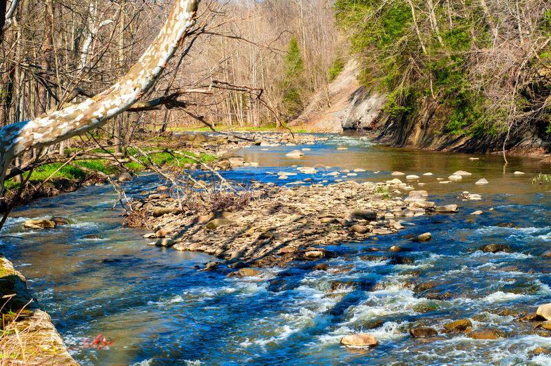 Babbling brook. A picturesque stream babbles over rocks in late afternoon spring sunlight stock photography