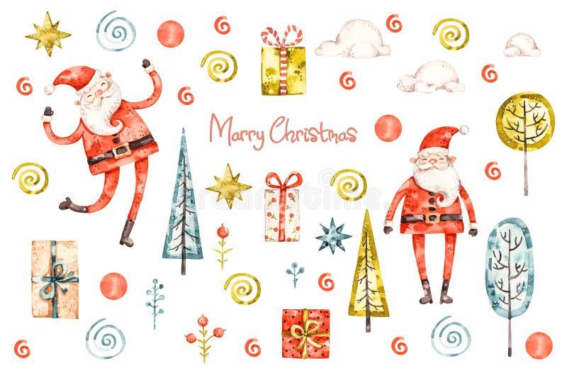 Babbo Natale con Babbo Natale allegro e decorato per festeggiare Innauseante pitturato a mano royalty illustrazione gratis
