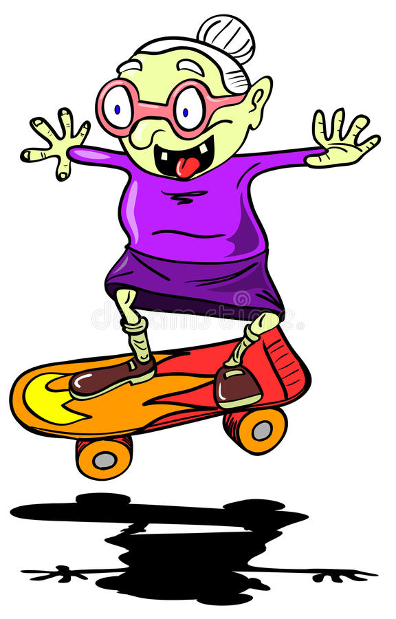 babci łyżwiarstwo ilustracji