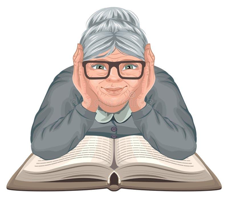 Babci czytelnicza książka Stara kobieta w szkłach umieszczał jego ręki na otwartej książce ilustracji