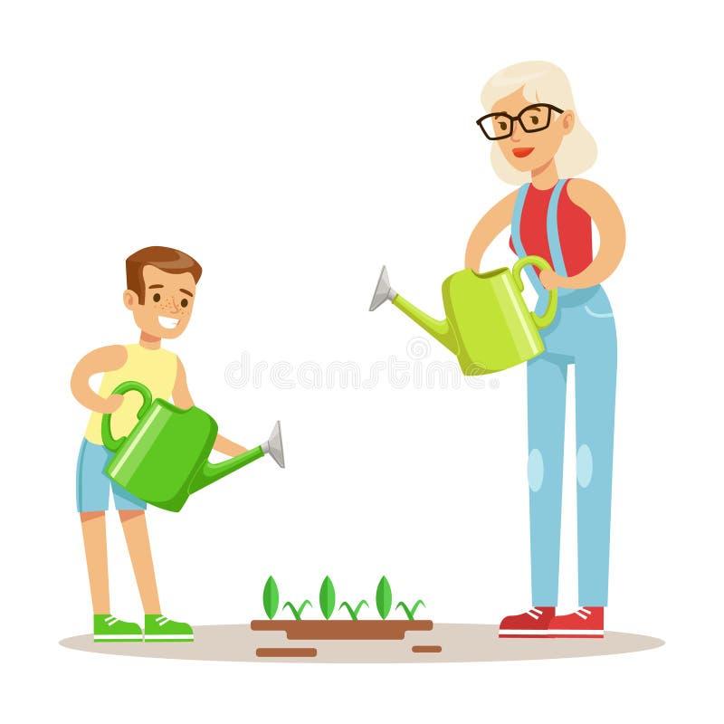 Babci I chłopiec podlewania rośliny, część dziadkowie Ma zabawę Z wnuk seriami royalty ilustracja