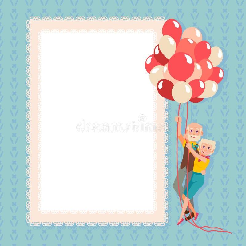 Babci i dziadu lot na balonach ilustracji