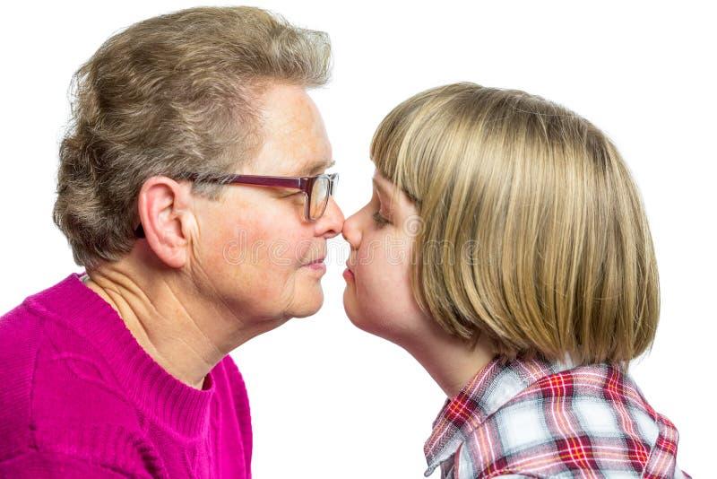 Babci i wnuka nosów dotykać fotografia royalty free
