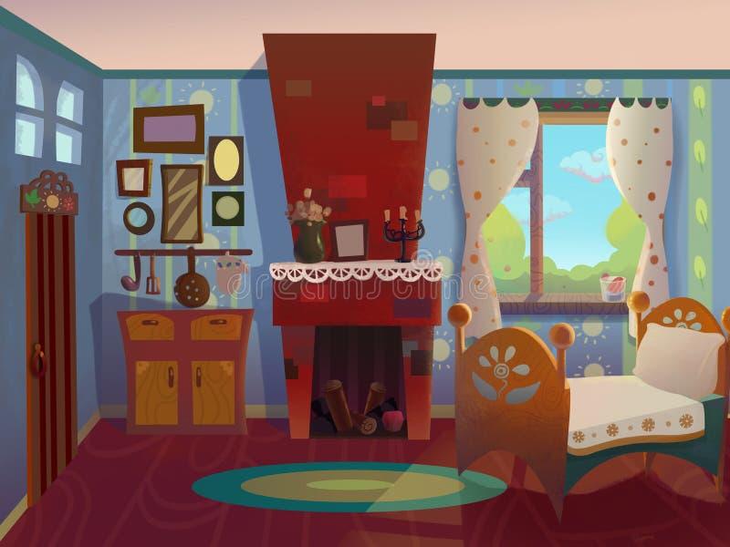 Babcia żywy pokój rysujący w kreskówka stylu royalty ilustracja
