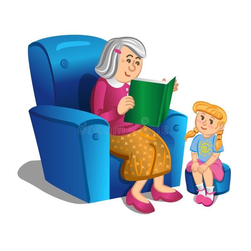 Babcia czyta książkę dziewczyna wektor royalty ilustracja