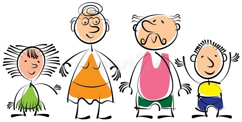 Babcia, dziad i wnuki odizolowywający na białym bac, ilustracji