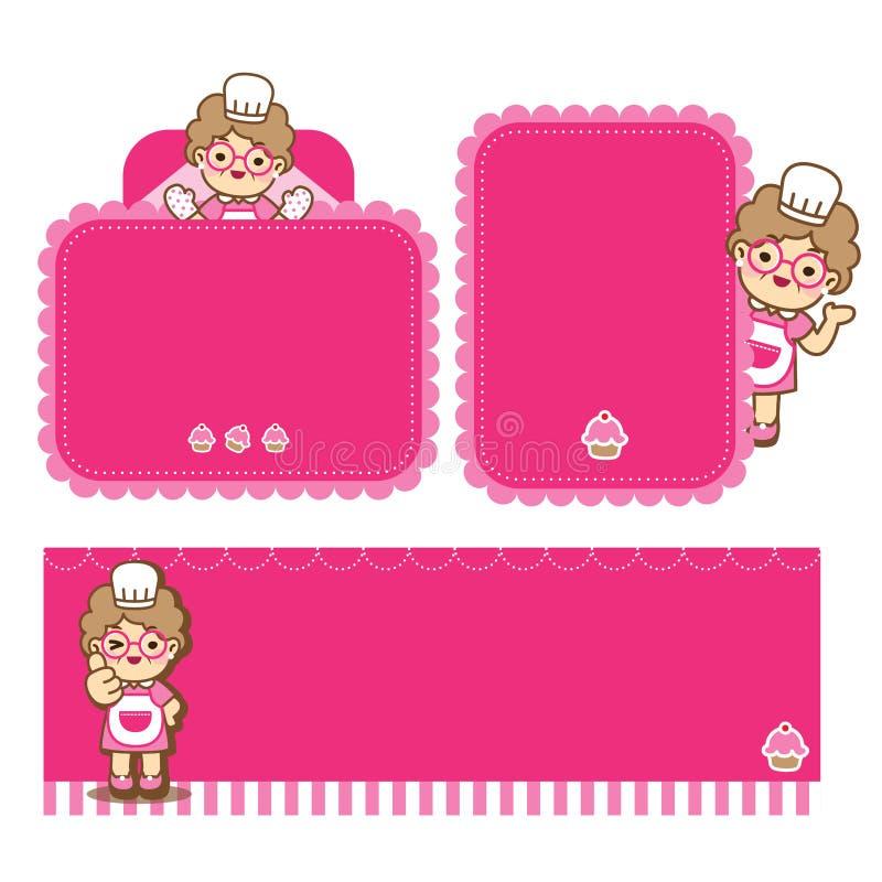 Babcia gotuje ?liczny styl ilustracji