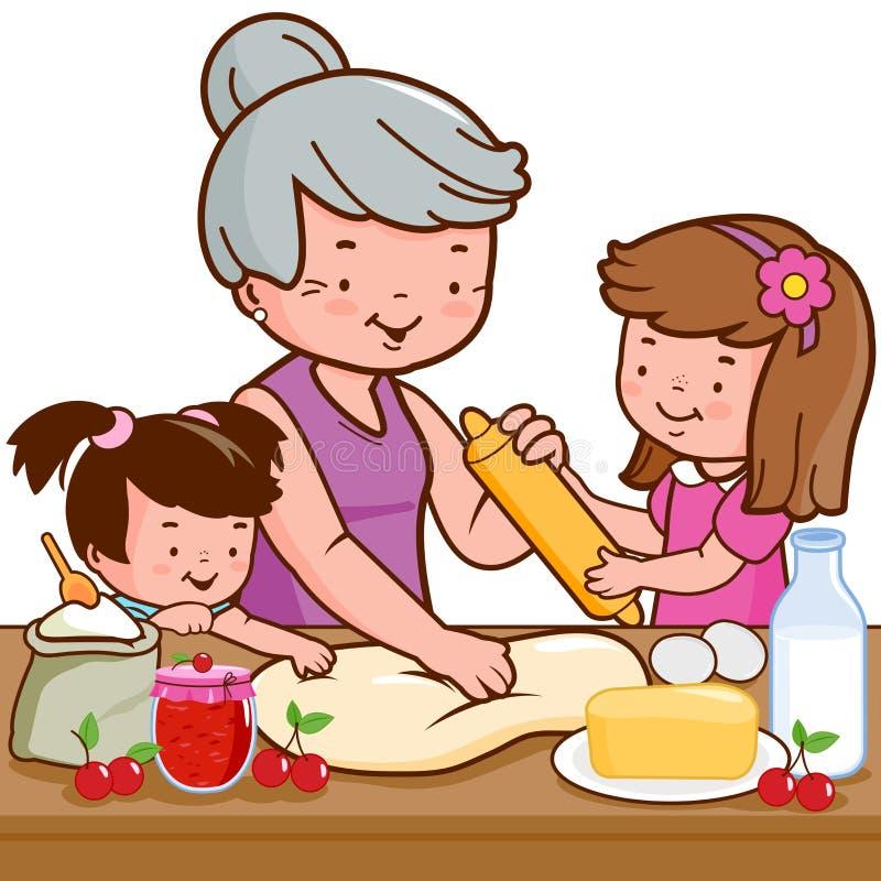 Babcia i dzieci gotuje w kuchni ilustracji