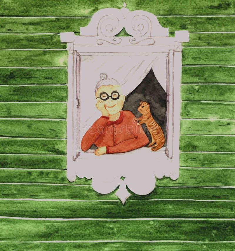 Babcia i kot obraz royalty free