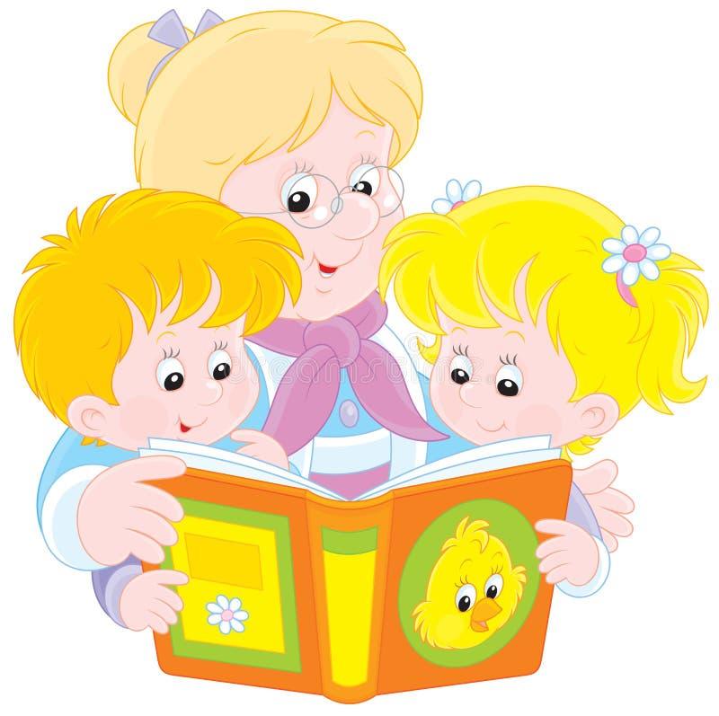 Babcia i wnuki czytający royalty ilustracja