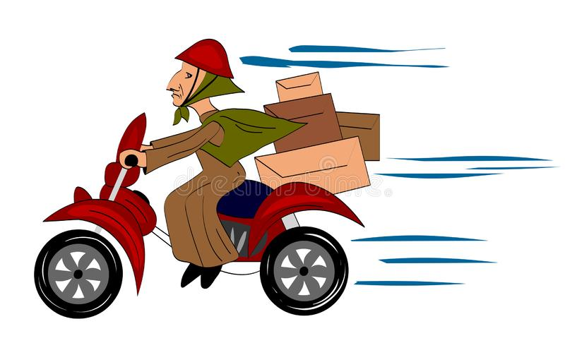 Babcia jedzie moped post royalty ilustracja