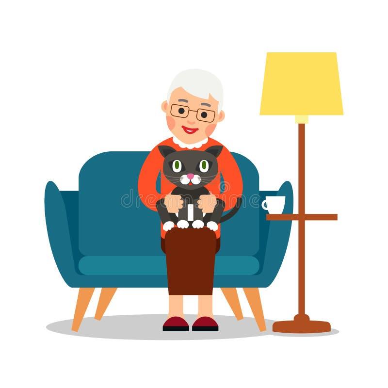 Babcia kot Starsza kobieta siedzi na kanapie i trzyma ślicznej kiciuni w ona ręki Szczęśliwa babcia z figlarką w domu przyja?? ilustracja wektor