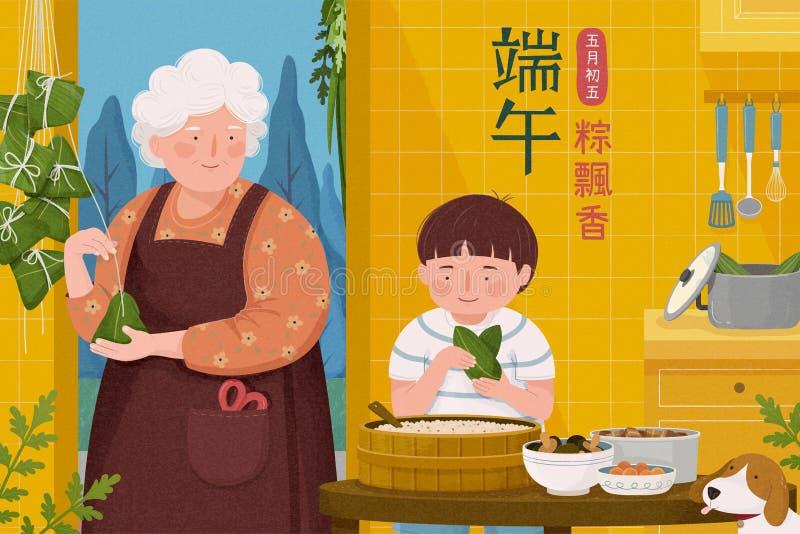 Babcia robi ryżowym kluchom ilustracji