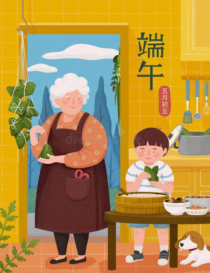 Babcia robi ry?owym kluchom royalty ilustracja
