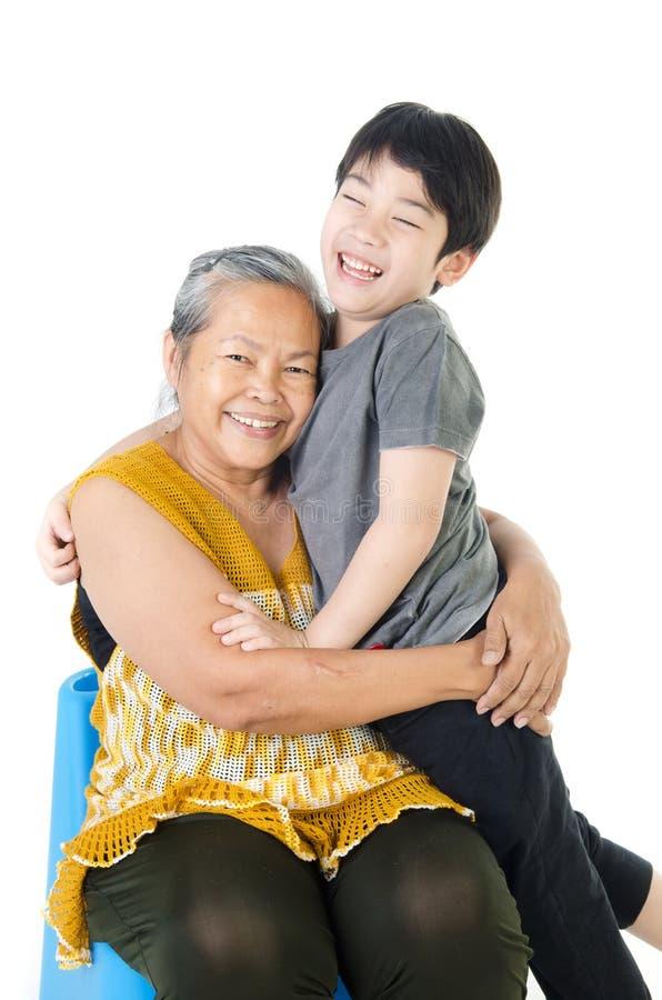Babcia z jej wnukiem fotografia royalty free