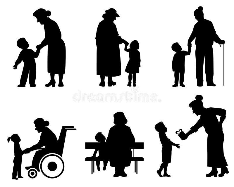 Babcie i wnuk sylwetki ilustracji