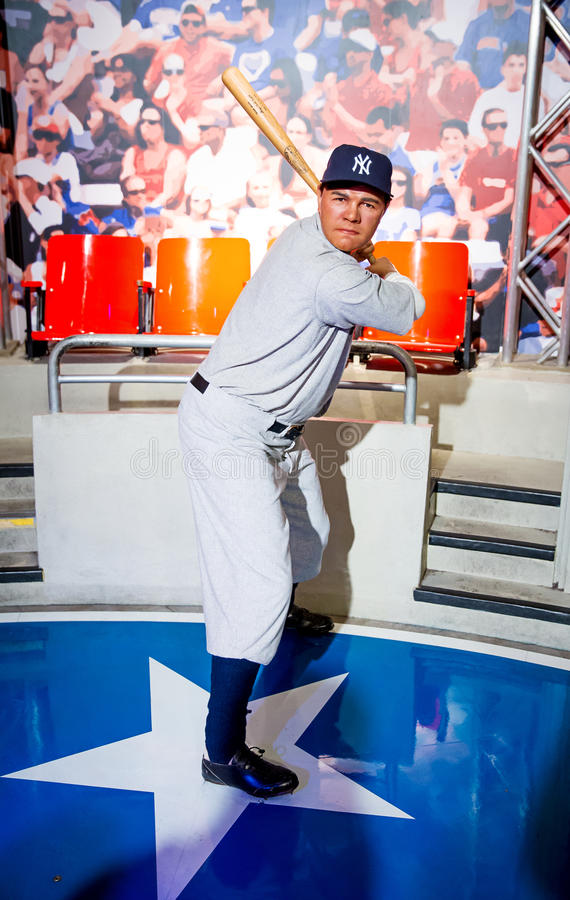 Babe Ruth. Wax statue of Babe Ruth baseball outfielder and pitcher, Madame Tussauds, Las Vegas royalty free stock photo
