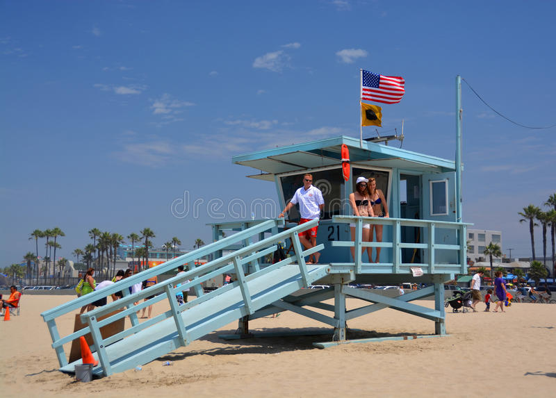 Babe Watch at the Life Guard Hut at Venice Beach royalty free stock photo