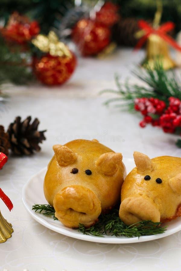 Babeczek świnie dla nowego roku 2019 wypiekowy domowej roboty obrazy stock