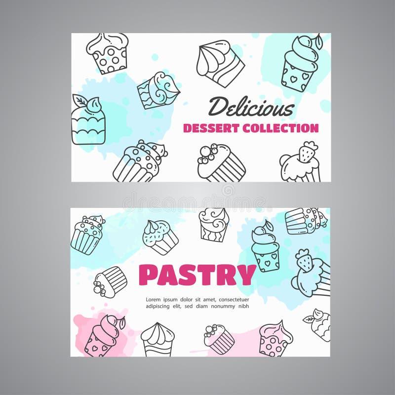 Babeczek karty z handdrawn babeczek i menchii pluśnięciami Słodki ciasto slogan Piekarnia deserów kolekci wektor ilustracji