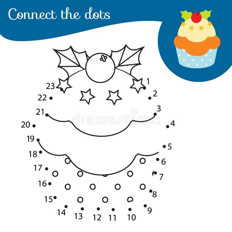 Babeczka świąteczna Połącz kropki Aktywność kropka-kropka-kropka-kropka dla dzieci i małych dzieci Gra edukacyjna dla dzieci na N ilustracji