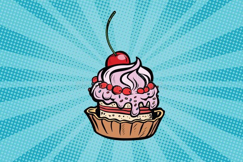 Babeczka deser z wiśniami i śmietanką ilustracja wektor