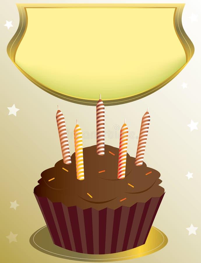 babeczka urodzinowy czekoladowy plakat royalty ilustracja