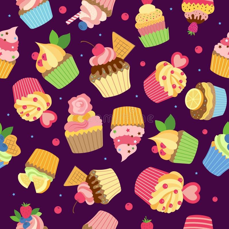 Babeczka wz?r Wyśmienity cukierki piec produkty z syrop czekoladową śmietanką i owoc wektor barwił bezszwową tkaninę royalty ilustracja