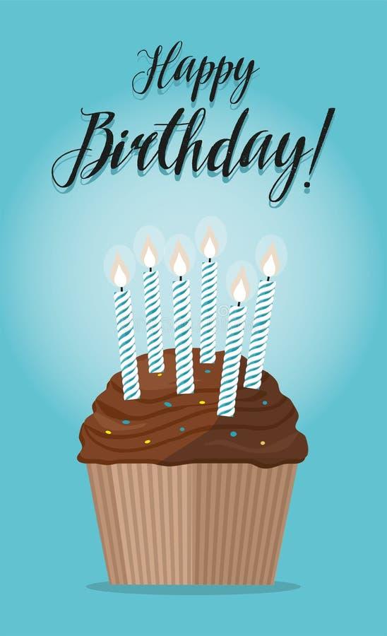 Babeczka z świeczką na błękitnym tle szczęśliwy urodziny royalty ilustracja