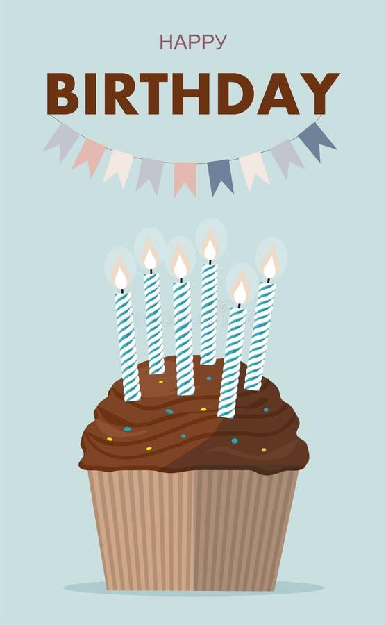 Babeczka z świeczką na lblue tle szczęśliwy urodziny ilustracja wektor
