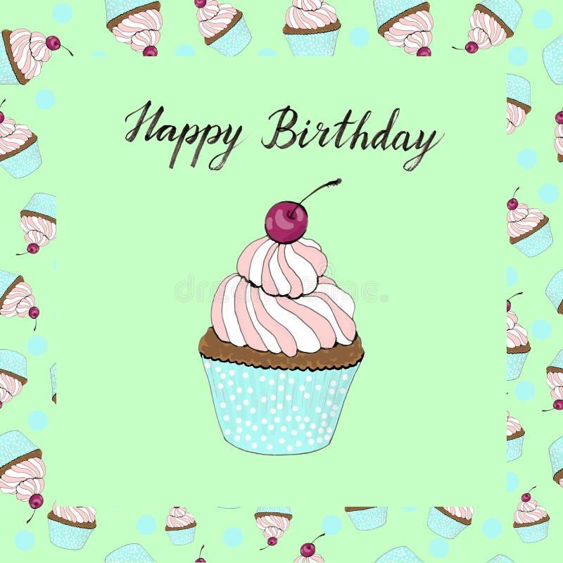 Babeczka z czereśniową urodzinową kartą na zielonym tle ilustracja wektor