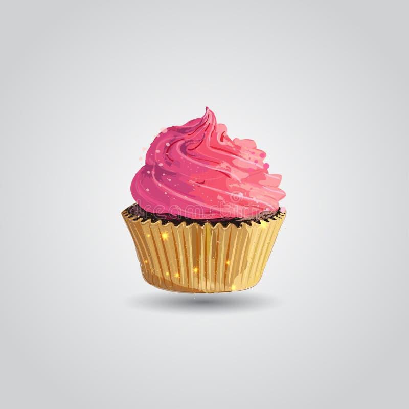 Babeczka z różowym creme w złotym opakowaniu rysunkowej elementów wolnej ręki naturalny stylizowany Artystyczny styl ilustracja wektor