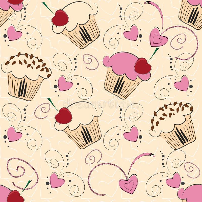 babeczki bezszwowy deseniowy ilustracja wektor