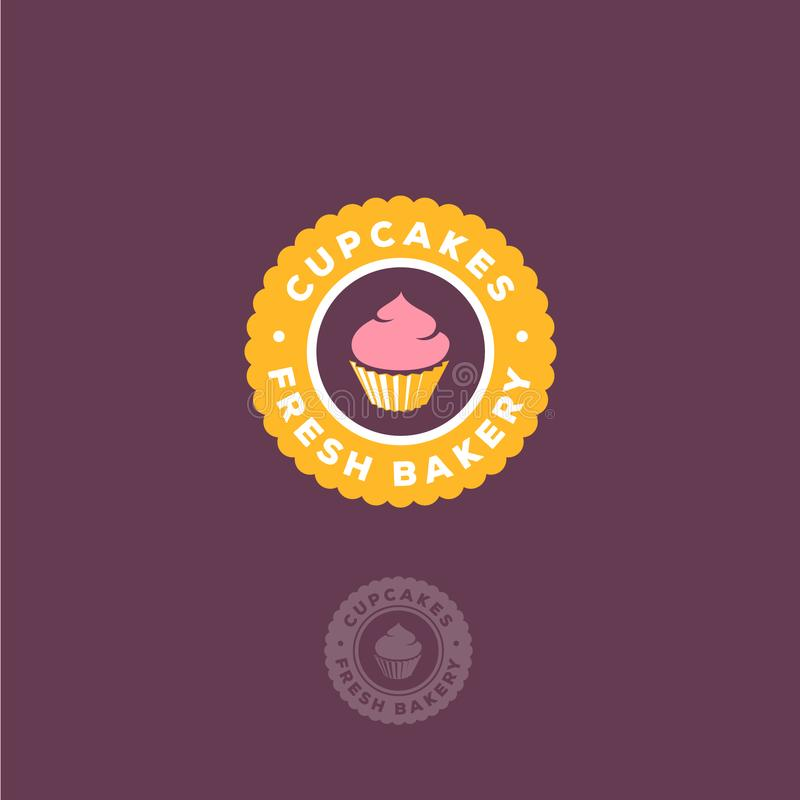 Babeczki i ciasto piekarni logo Świeży babeczka emblemat na żółtym okręgu ilustracji