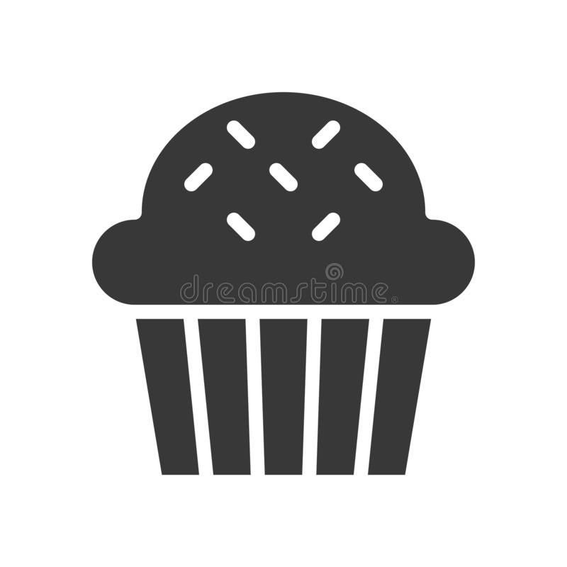 Babeczki lub słodka bułeczka logo piekarnia i ciasto set, glif ikona ilustracja wektor
