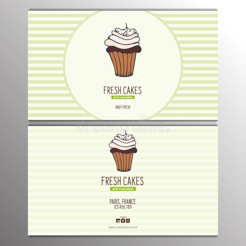 Babeczki lub torta wizytówki szablon dla ilustracji