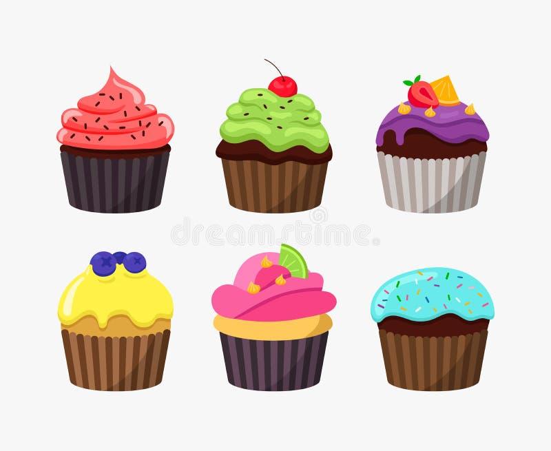 Babeczki w kreskówka płaskim projekcie odizolowywającym na białym tle Ślicznych smakowitych tortów wektorowa kolorowa ilustracja ilustracji
