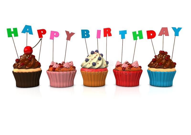 Wszystkiego Najlepszego Z Okazji Urodzin filiżanki torty ilustracja wektor