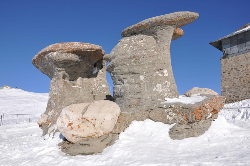Babele Concretions in Bucegi Mountains. (Brasov County), Romania seen in the winter royalty free stock photo