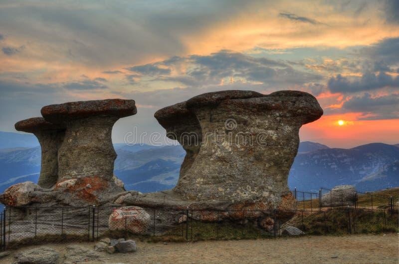 Babele, sunset in Bucegi, Carpati, Romania. Stone group named Babele in Bucegi, Carpati, Romania stock images